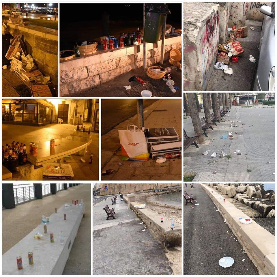 """Le foto di Bari ridotta in una discarica a cielo aperto, Decaro ai baresi """"Abbiamo resistito a una pandemia mondiale, ma non riusciamo a buttare carte e lattine nella spazzatura"""""""