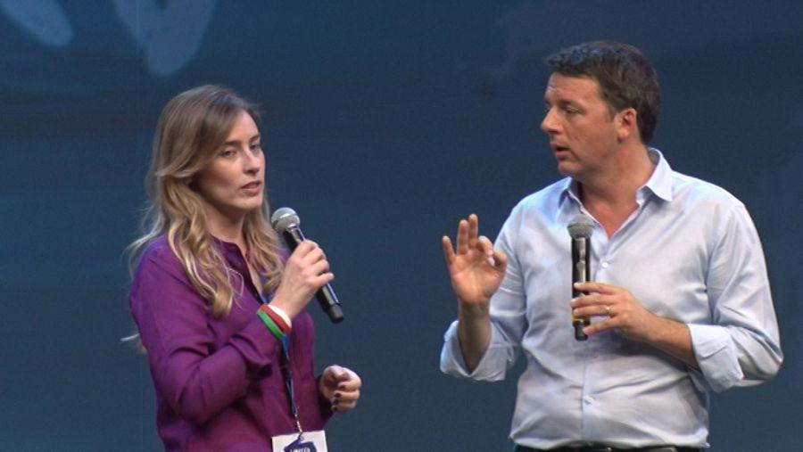 """Maria Elena Boschi bacia Giulio Berruti e Matteo Renzi perde le staffe """"ti comporti come una tronista in partenza per Temptation Island"""" ,  la reazione durissima della Boschi"""