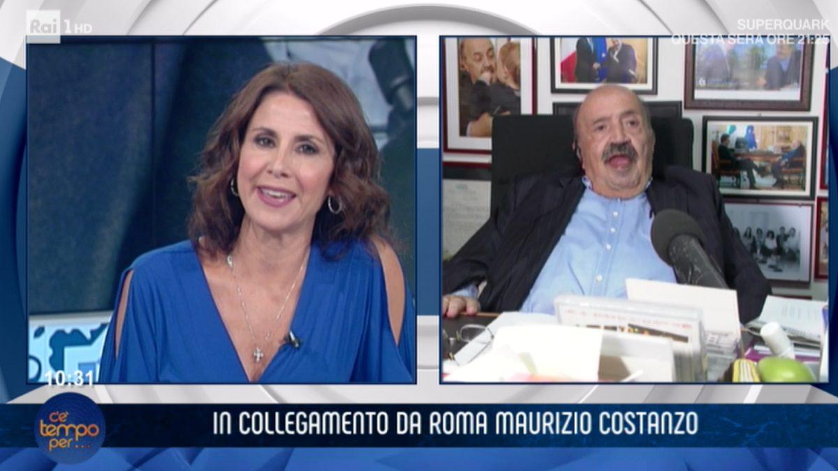 """Maurizio Costanzo ospite a """"C'è tempo per …"""" , dopo l'ennesima volta che Barbara Capponi si rivolge a lui in un certo modo le dice: """"La pianti …"""""""