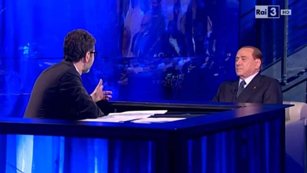 """Che tempo che fa, Fabio Fazio ospita Silvio Berlusconi che in chiusura gli dice: """"Sa cosa le auguro?"""" e Fazio appena sente balbetta …"""