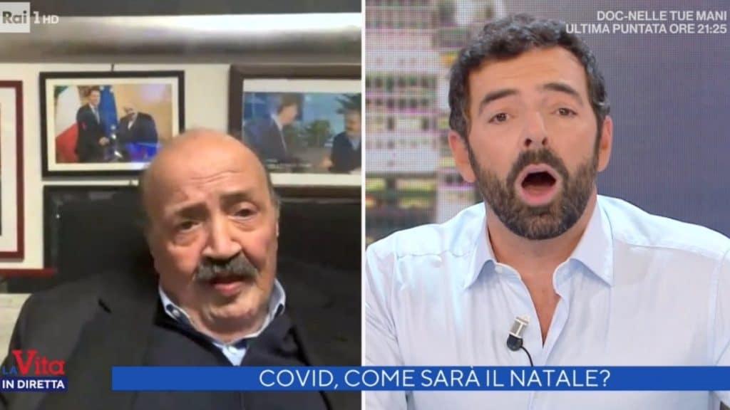 """Vita in Diretta, Alberto Matano fa una terribile gaffe con Maurizio Costanzo che dice: """"Se vuoi mi piglio il Covid"""", Matano in grandissimo imbarazzo"""