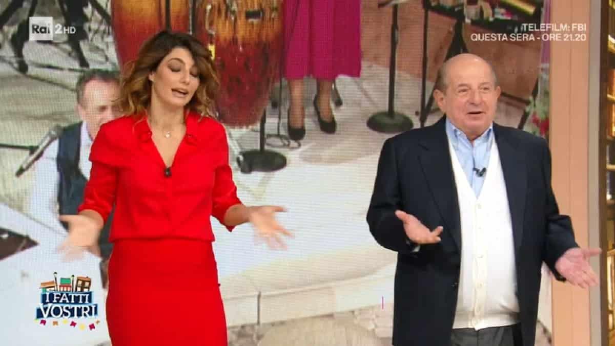 """I fatti vostri, Giancarlo Magalli fa una battuta su Samantha Togni """"Tutto tranne che santa"""" ma Samantha questa volta non si diverte e reagisce male"""