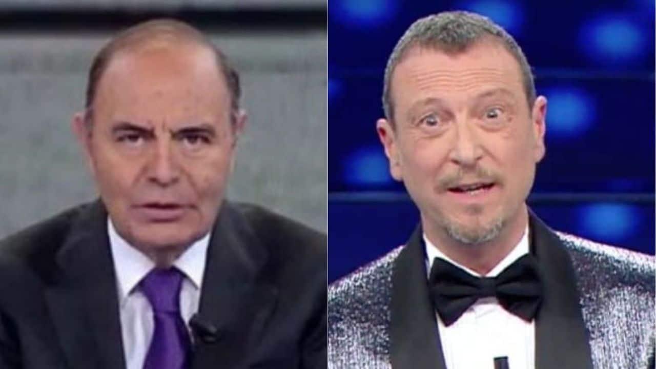 """Porta a Porta, Bruno Vespa al veleno contro Amadeus, """" … il suo programma è una roba importantissima …"""""""