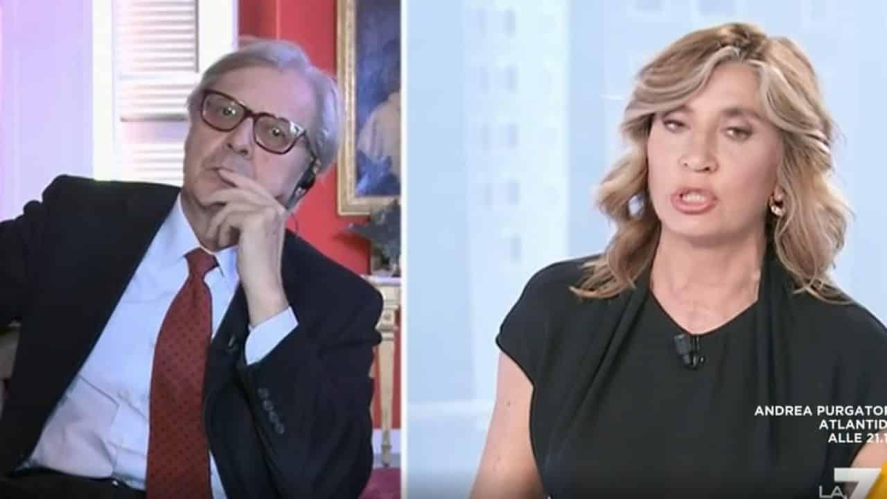 """L'Aria Che Tira, Myrta Merlino ospita Vittorio Sgarbi ma poi gli dice: """"Ti odio, ti odio"""", gelo in studio"""