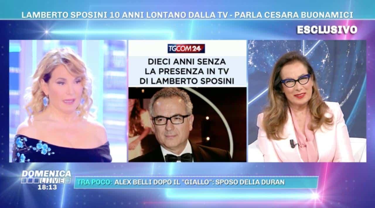 """Barbara D'Urso fa una domanda a Cesara Buonamici su Lamberto Sposini che risponde con un secco """"Di questo non voglio parlare …"""", gelo in studio"""